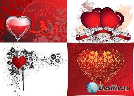 Векторные сердца для оформления открыток