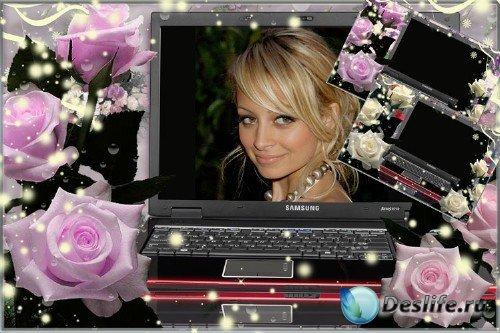 Романтическая рамка для фотошопа – Очарование нежных роз