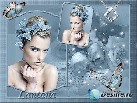 PSD исходник для фотошопа - Голубой мираж
