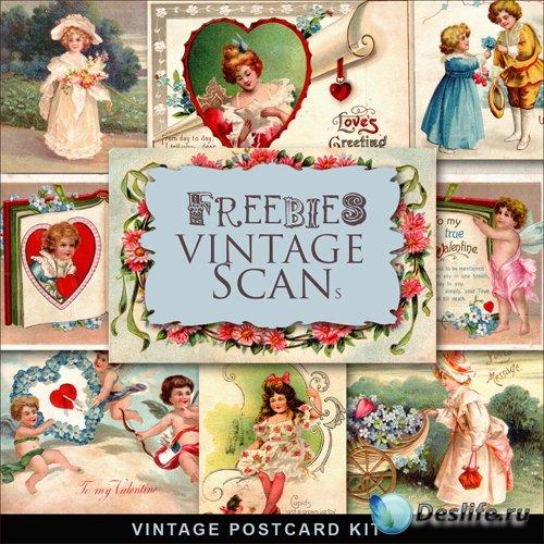 Скрап-набор - Романтические Винтажные Открытки к Празднику Влюбленных