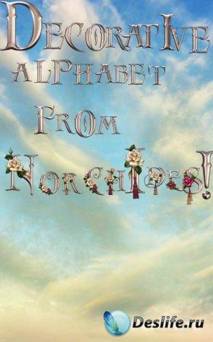 Декоративный алфавит украшеный розами PSD