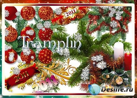 Новогодний клипарт - Хвоя, свечи, надписи, снежинки
