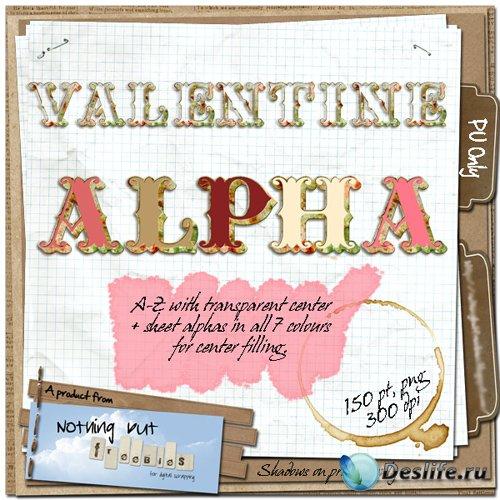 Скрап-набор - Романтический Алфавит к Дню Влюбленных