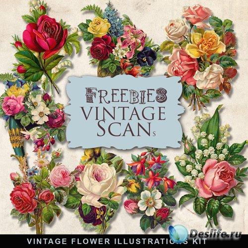 Скрап-набор - Коллекция Цветов в Винтажном Стиле