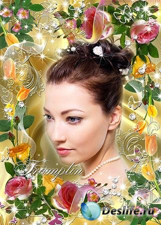 Цветочная рамка для фотошопа – Розовые розы, Желтые тюльпаны