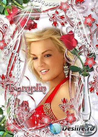 Романтическая Рамка для ваших фото – Розочка красная для тебя