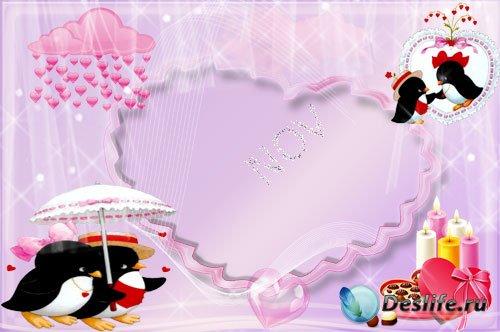 Романтическая рамочка для фото - Влюбленные птички