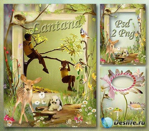 Детская рамка для фото - Гуляет олененок среди кустов зеленых