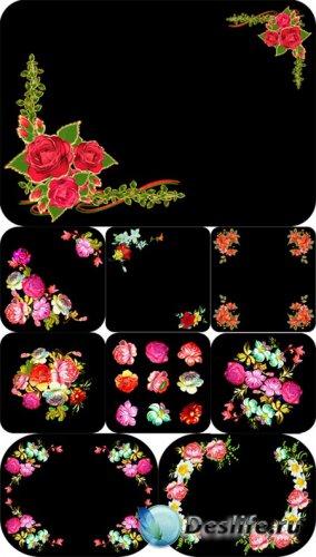Векторные цветы на черном фоне