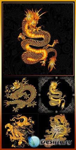 Векторный клипарт - Золотой дракон на черном фоне