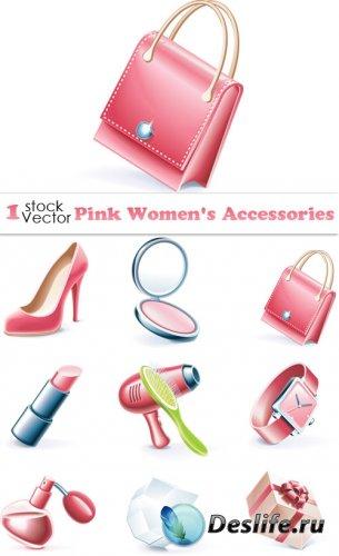 Pink Women's Accessories Vector
