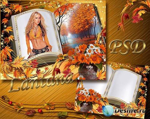 Рамка для фотошопа - Осенние листья летят на страницы
