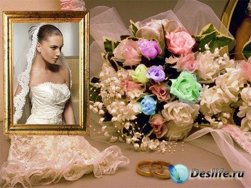 Романтическая фоторамка - Большой букет роз