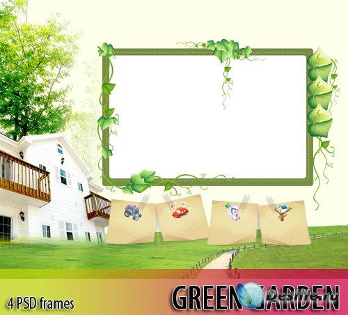 Рамки для фотошопа - Зеленый сад (4 PSD)