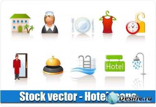 Векторные иконки - Отель / Гостиница