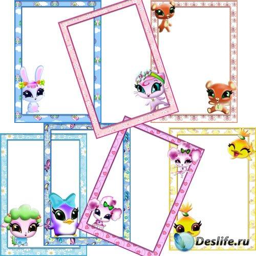 Детские рамки для Фотошоп - Питомцы WINX