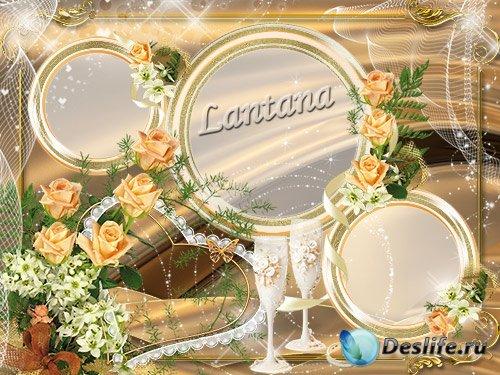 Свадебная рамка для фото - Пусть розами ваш будет устлан путь