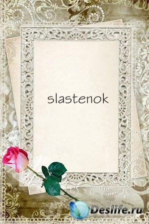 Рамка для фотошопа - Алая роза на память