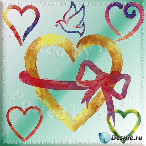 PSD Исходники - Акварельное Сердце (Watercolor Hearts)