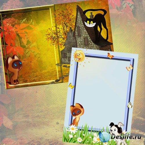 Детские рамки для Фотошоп - Котенок Гав и его друзья