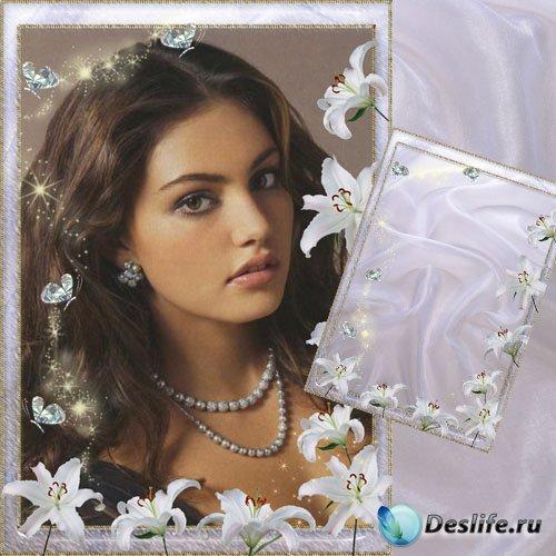 Фоторамка - Белые лилии