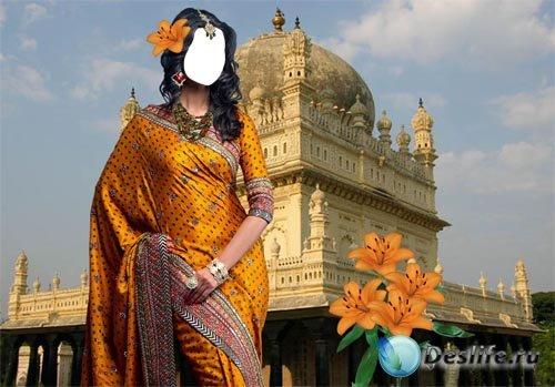 Костюм для фотошопа - Индианка с оранжевыми лилиями