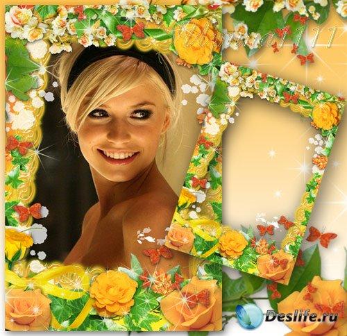 Рамка для фотошопа - Яркие желтые розы