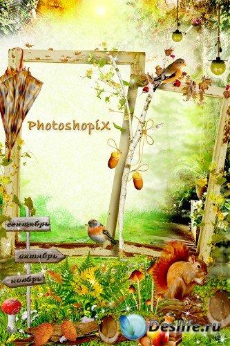 Осенняя фоторамка для Photoshop – Три осенних месяца