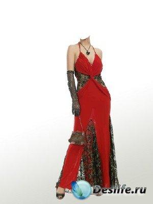 Костюм для монтажа в Photoshop - В красном платье
