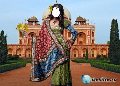 Костюм для фотошопа - Индианка с желтыми лилиями