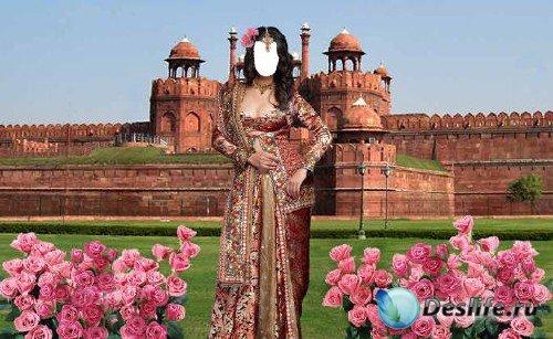 Костюм для фотошопа – Индианка среди розовых кустов