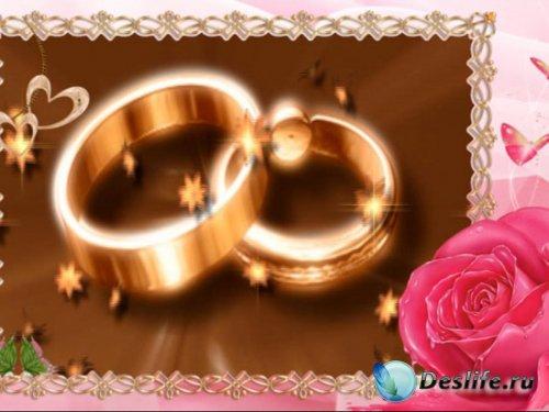 Футаж для оформления свадебного видео – Кольца и роза