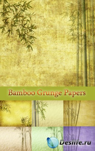 Текстуры для фотошопа - Бамбук на гранжевой бумаге