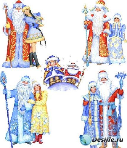 Рисованные Дед Мороз и Снегурочка