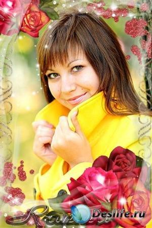 Рамка для фотошопа - Роз дивных аромат согреет нас порой осенней