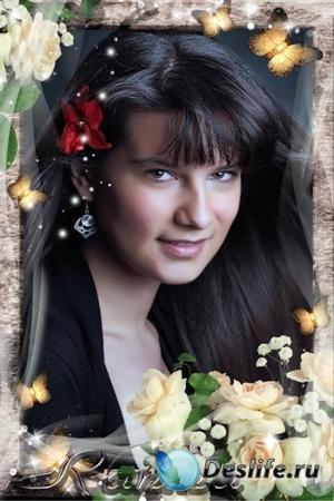 Рамка для фотошопа - Дыханье роз и бабочек парханье