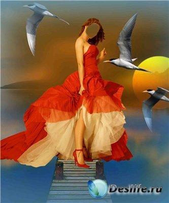 Женский костюм для фотошопа - С чайками