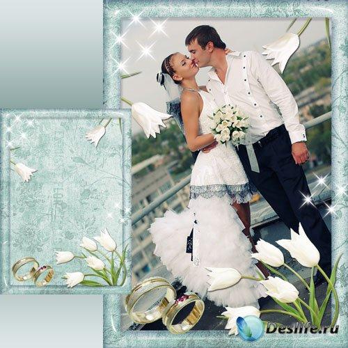 Свадебная рамка для Фотошоп - Нежность тюльпанов