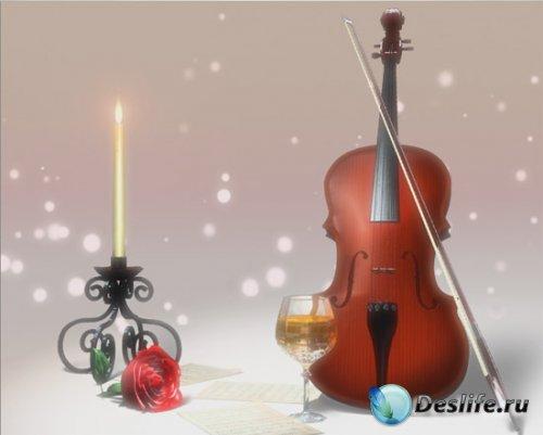 Футаж для заставки - Свеча, роза, бокал и скрипка