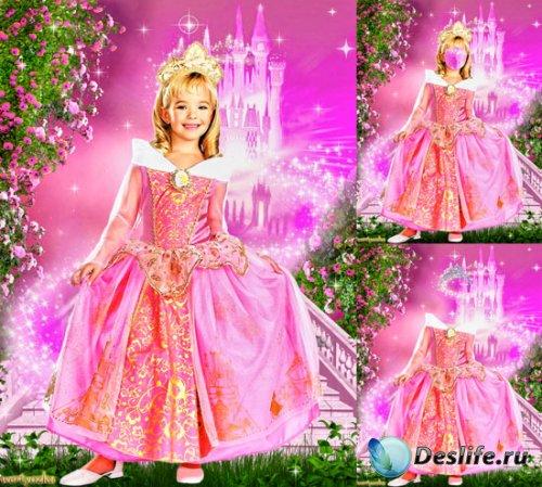 Детский костюм для фотошопа - Очаровательная принцесса в волшебном замке