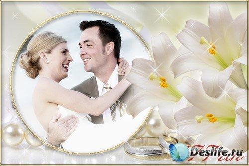 Свадебная цветочная рамка – Белые лилии