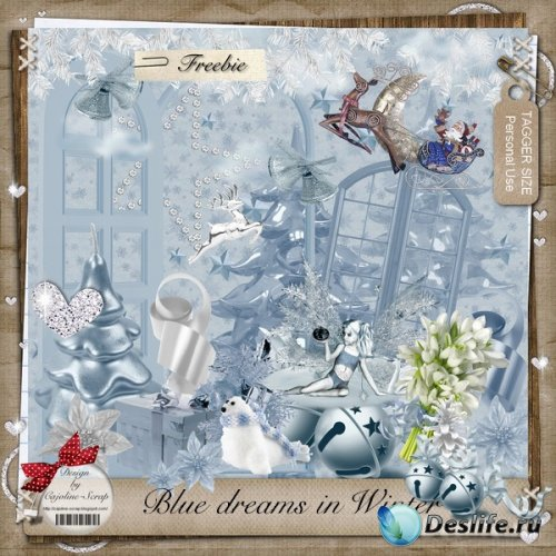Скрап набор - Голубые зимние мечты