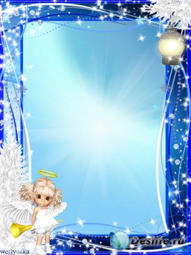 Новогодняя рамка для фото - Маленький ангелочек и волшебный фонарик
