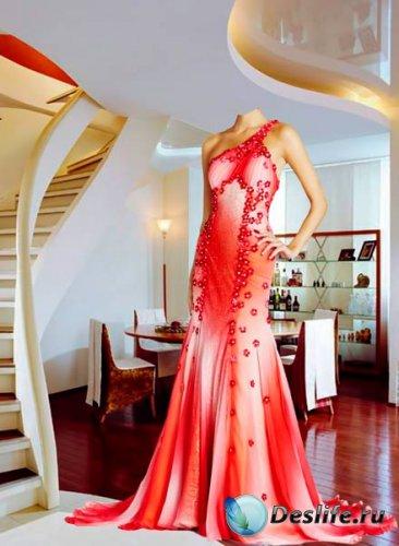 Костюм для фотошопа - Женщина в розовом платье