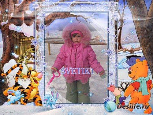 Детская рамка для фото - Зимние шалости с Вини