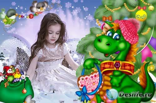 Детская рамочка с новогодним дракончиком
