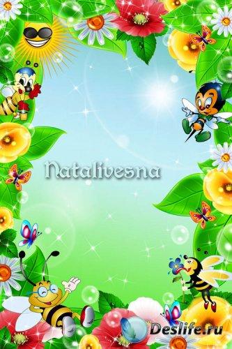 Цветочная детская  рамка  – Собрались все на лужайке - пчелки, бабочки, цве ...