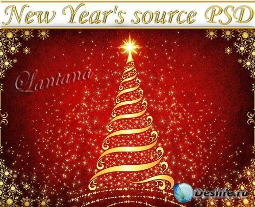 PSD исходник - Новогодняя мишура № 10