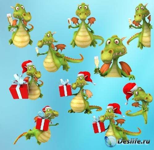 Клипарт PNG - Новогодний Funny Dragon
