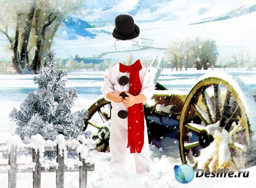 Костюм для фотошопа - Маленький снеговик